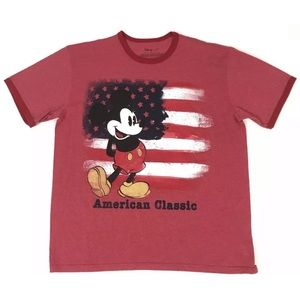 Disney Mickey Mouse American Flag Red Shirt